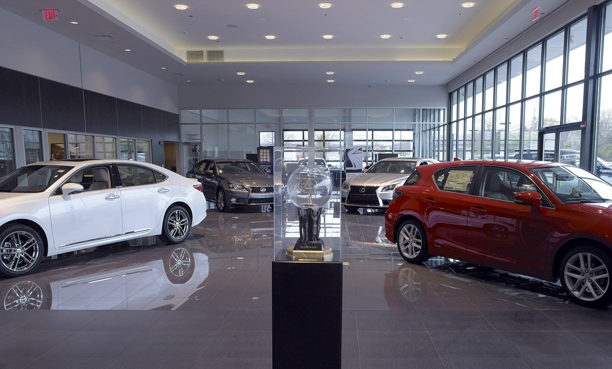 Inside the showroom of the Lexus Highland Park Dealership.