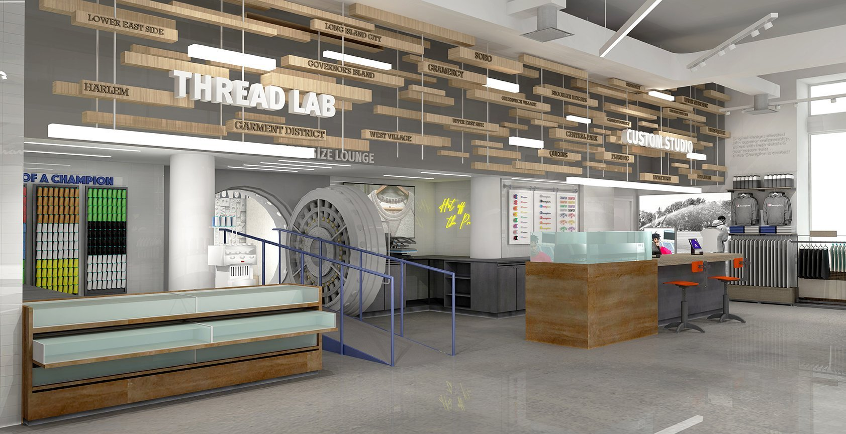 The back wall of the store shows the entire Customization Studio including the Thread Lab. In the middle is the entrance to The Vault—an old bank vault—which is now a special media room for guests.