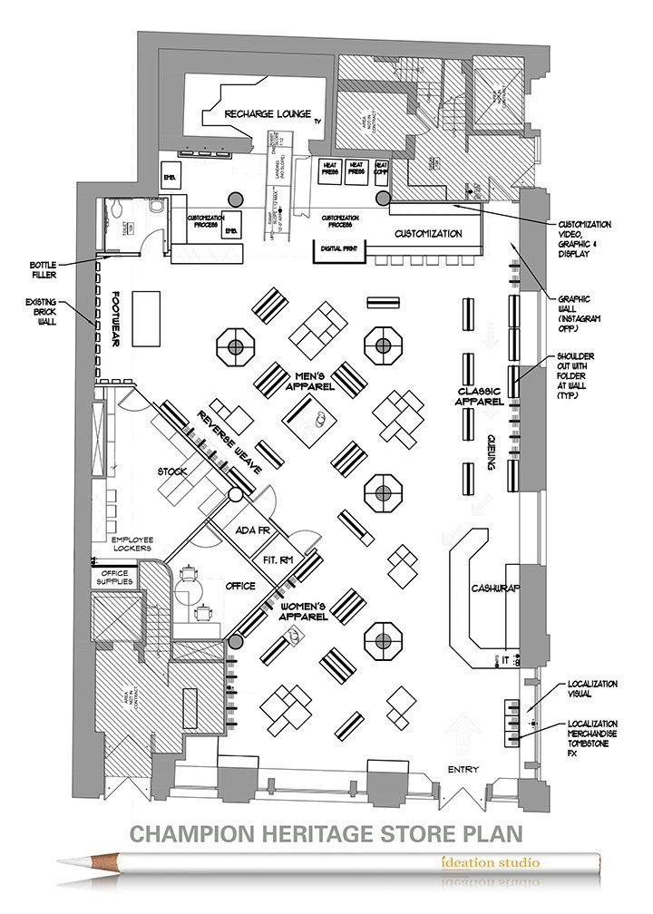 This store plan shows the layout of the new Champion Heritage Store in New York, including the various departments and special store features.