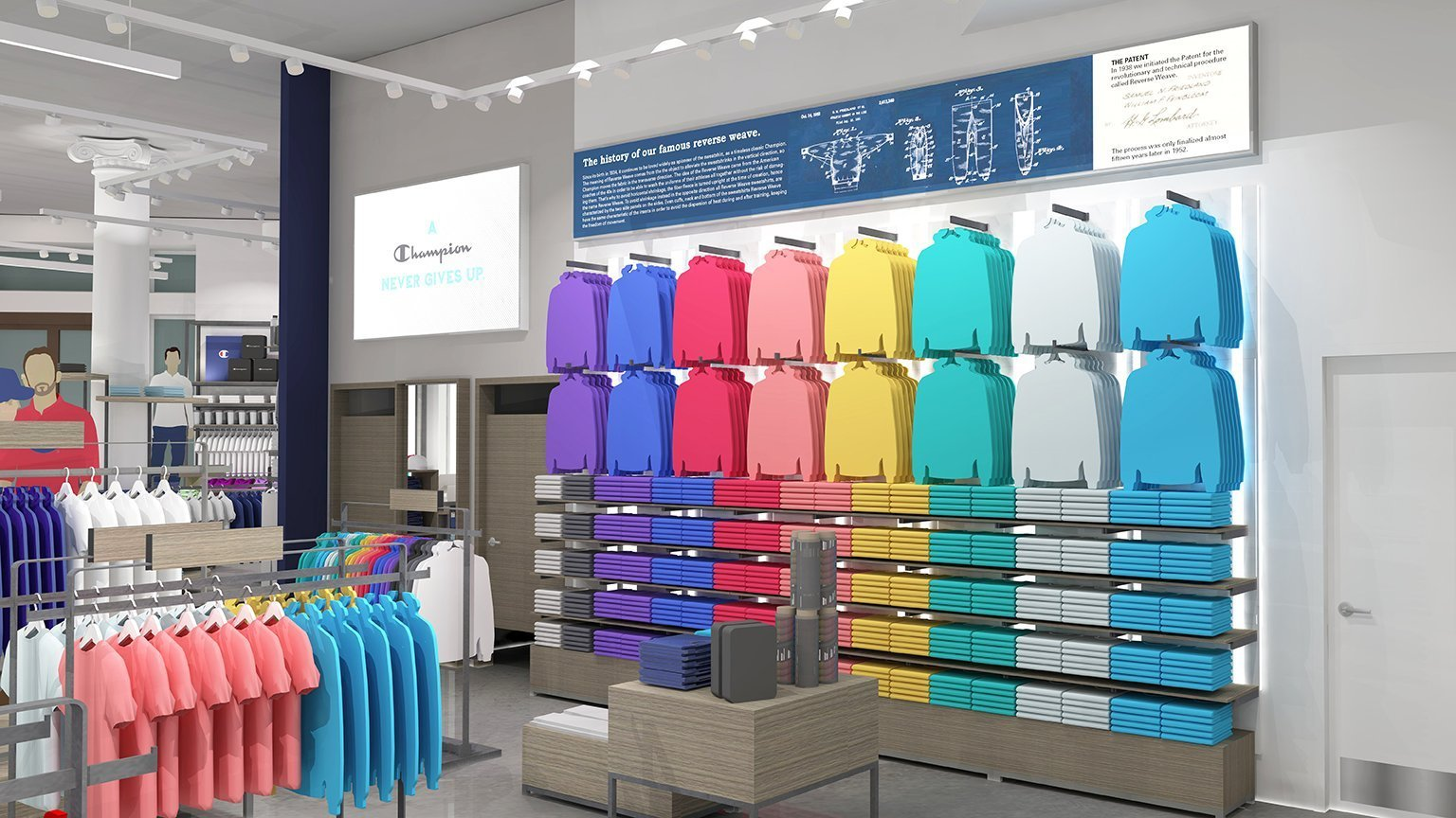 A colorful hoodie display showcases Champion's reverse weave textiles, in a space with white walls and light wood retail fixtures displaying merchandise.