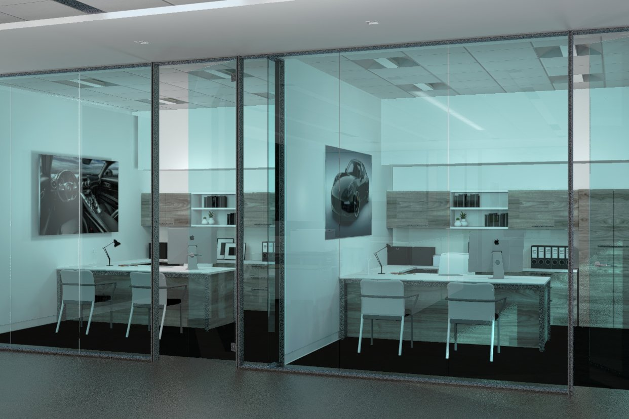 A glass wall give a view into two identical office spaces with white walls, dark flooring, the wall storage systems and desks are finished in wood