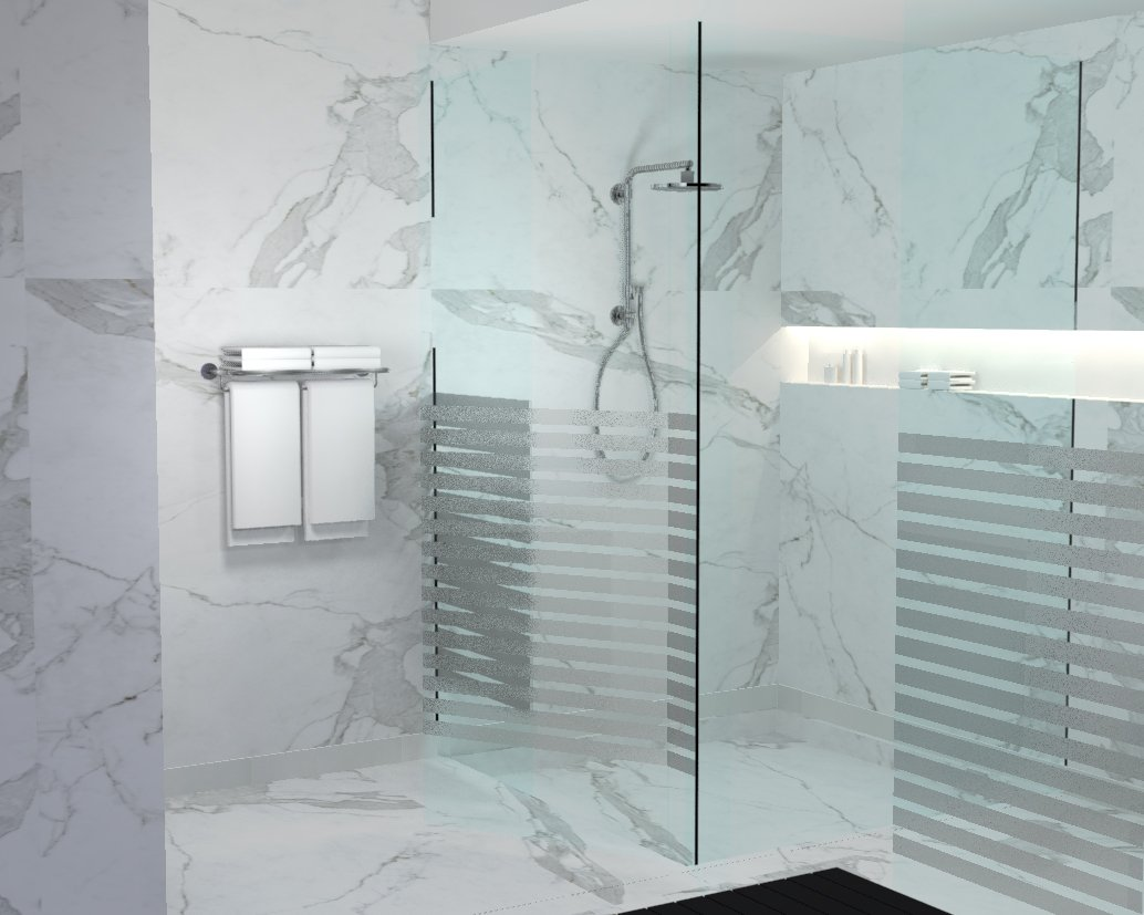White calacatta marble covers the floor and walls of this luxurious walk in shower