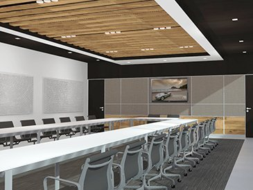 Corporate board room with large conference table. The room has a high contrast black and white color scheme with wood ceiling baffles and cabinets under the media wall.